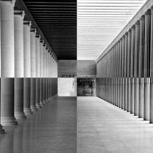 Interior of Stoa in ancient agora, Athens, Greece