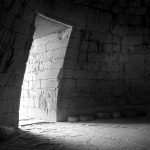 View of entrance inside tomb of ancient Mycenae, Greece