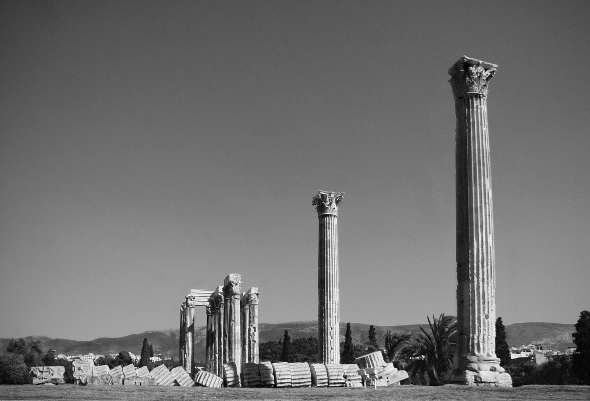 Ancient temple ruins in Athens, Greece