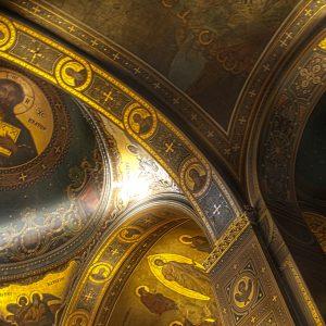 Interior ceiling of orthodox church in Nafplio, Greece