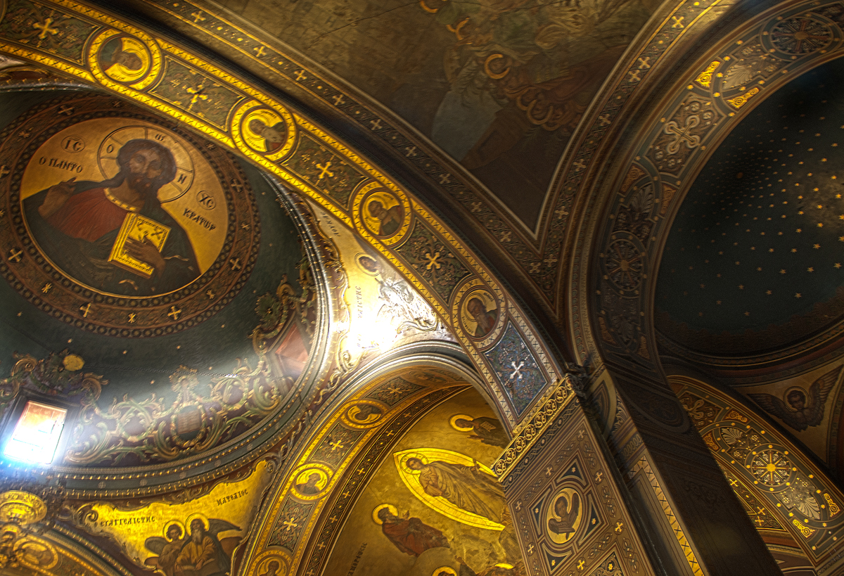 Interior ceiling of orthodox church in Nafplio, Greece