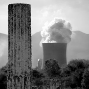 View of nuclear reactor from nearby ancient Megalopolis, Greece