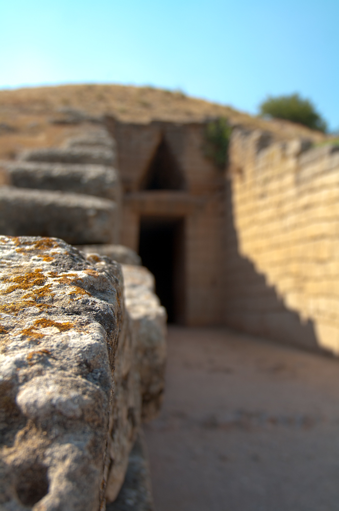External entrance of tomb in ancient Mycenae, Greece