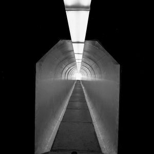 A tunnel leads out to a viewing platform of the Berkeley Pit, the largest Copper Mine in the world, Butte, MT