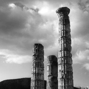 Ancient temple pillar ruins, Delphi, Greece