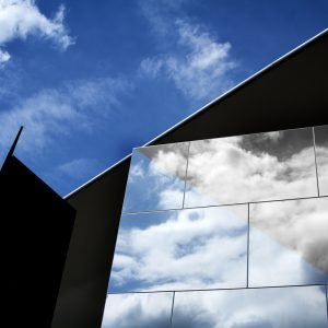 Reflective museum wall creates interesting geometric patterns, Amsterdam, Netherlands