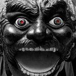 Festival puppet head, Barcelona, Spain