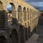 Roman aqueduct running through the town of Segovia, Spain