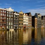 Centuries-old homes along one of the canals of Amsterdam