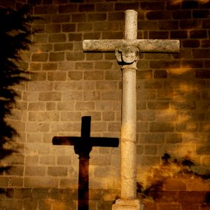 Cross in church yard, Avila, Spain