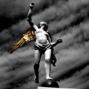 Statue of an angel in the open air museum, Zaanse Schans, Netherlands