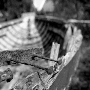 Old rotted boat in the open air museum, Zaanse Schans, Netherlands