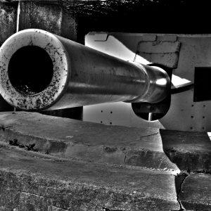 150mm WWII German gun within concrete bunker at Bangsbo Fort, North Jutland, Denmark
