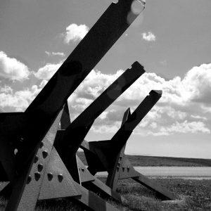 "WWII German anti-tank ""hedgehogs"" at Bangsbo Fort, North Jutland, Denmark"