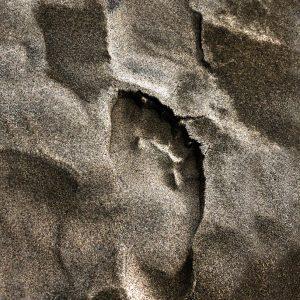 Footprint in the sand dunes in North Jutland , Denmark