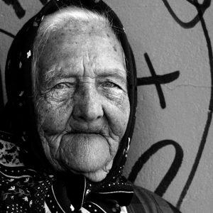 Elderly woman in the streets of Tallin, Estonia
