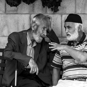 Two local gentlemen share a bench, Amman, Jordan