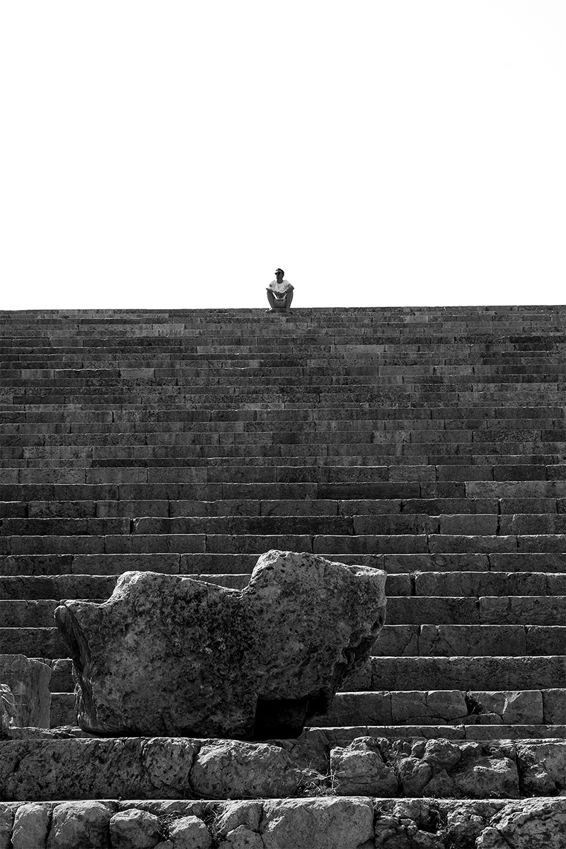 A lone visitor takes in the enormity of the well-preserved Roman City of Jeresh, Jordan