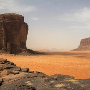 Colossal weathered rock formations in a Mars-like terrain, Wadi Rum, Jordan