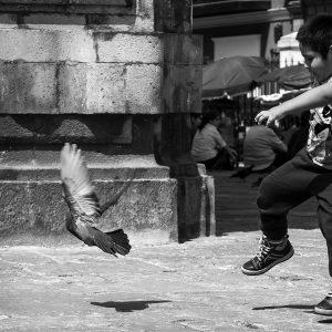 A local boy has a blast chasing pigeons outside a church, Lima, Peru