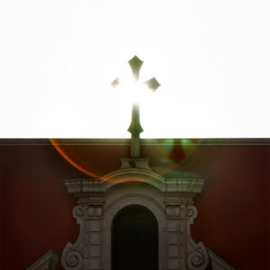 The late sun passes over a church facade in downtown, Lima, Peru
