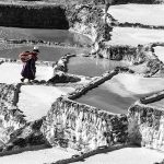 A local Quechuan collects her share of salt at the Salinas Maras, Peru
