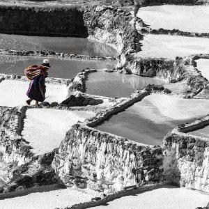 A local Quechuan collects her share of salt at the Salinas Maras, Peru