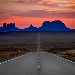 The infamous highway leading into Monument Valley, Utah