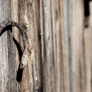 A well-worn horseshoe brings luck to an ol' barn in south Utah