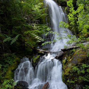 Sunlight peeks over a multi-tiered waterfall, Mount Rainier NP, WA