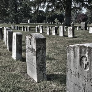 Military gravestones in old city cemetery, Sacramento, California