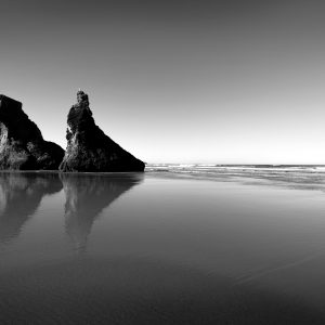 Twin sea stacks face the Pacific, OR