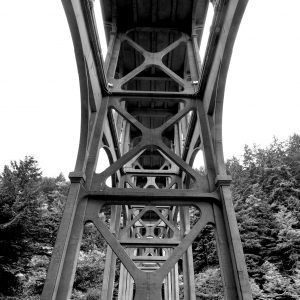 The underbelly of Cape Creek Bridge, designed after the ancient Roman aqueducts, Heceta Head Lighthouse View Point, OR