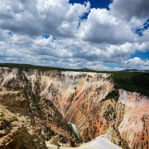 Multi-colored minerals, revealed from eons of erosion, create pastel walls in the Grand Canyon of the Yellowstone, Yellowstone NP, WY
