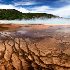 Striking colors and patterns create an otherworldly environment, Grand Prismatic Spring, Yellowstone, WY