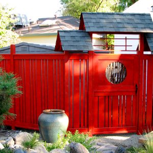 Asian-style fence and gate