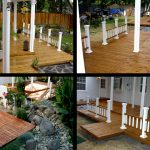 Wooden multi-level deck with railing