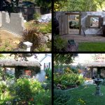 Garden wall with thatched roof, wooden door, wooden shutters in Irish cottage theme