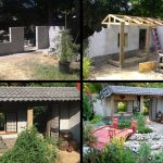 """Garden wall with ceramic tiled roof, wooden porch, shoji screen door and sliding shutters in Korean cottage style (see opposite side for """"Irish"""" cottage)"""