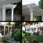 Wooden pergola with fluted columns and 2 x 2 roof, covered with tinted fiber glass sheets
